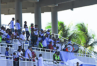 SAN ANDRES - COLOMBIA, 24-03-2019: Hinchas del real san Andrés animan a su equipo durante partido por la fecha 9 del Torneo Águila 2019 entre Real San Andrés y Fortaleza FC jugado en el estadio Erwin O'Neil de SanAndrés Isla. / Fans of San Andres cheer for their team during match for the date 9 of the Aguila Tourmament 2019 Real San Andres and Fortaleza FC played at Erwin O'Neil stadium in San Andres Islands. Photo: VizzorImage/ James Hunter / Cont