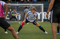 San Jose, CA - Tuesday June 11, 2019: Florian Jungwirth #23 stretches before the US Open Cup match between the San Jose Earthquakes and Sacramento Republic FC at Avaya Stadium.