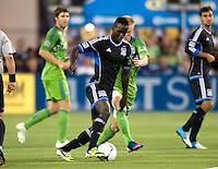 Simon Dawkins of Earthquakes dribbles the ball during the game against Seattle at Buck Shaw Stadium in Santa Clara, California on August 11th, 2012.   Earthquakes defeated Sounders, 2-1.