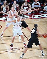 STANFORD, CA - January 27, 2013: Stanford Cardinal's Joslyn Tinkle (44) and Mikaela Ruef (3) during Stanford's 69-56 victory over the Colorado Buffaloes at Maples Pavilion in Stanford, California.