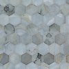 Hex, a waterjet stone mosaic, shown in polished Pacifica, is part of the Semplice™ collection for New Ravenna.
