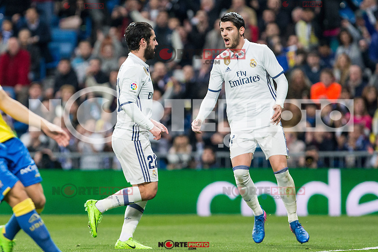 Isco Alarcon and Alvaro Morata of Real Madrid celebrates after scoring a goal during the match of Spanish La Liga between Real Madrid and UD Las Palmas at  Santiago Bernabeu Stadium in Madrid, Spain. March 01, 2017. (ALTERPHOTOS / Rodrigo Jimenez) /NortePhoto.com