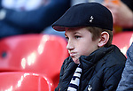 A Tottenham Hotspur fan before the start of the premier league match at the Wembley Stadium, London. Picture date 14th April 2018. Picture credit should read: Robin Parker/Sportimage