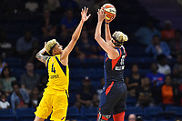 Washington, DC - Aug 8, 2019: Washington Mystics forward Elena Delle Donne (11) pulls up for a jump shot over Indiana Fever forward Candice Dupree (4) during 1st half action of game between the Indiana Fever and the Washington Mystics at the Entertainment & Sports Arena in Washington, DC. (Photo by Phil Peters/Media Images International)