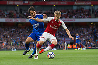 Leicester City's Shinji Okazaki vies for possession with Arsenal's Nacho Monreal<br /> <br /> Photographer Craig Mercer/CameraSport<br /> <br /> The Premier League - Arsenal v Leicester City - Friday 11th August 2017 - Emirates Stadium - London<br /> <br /> World Copyright &copy; 2017 CameraSport. All rights reserved. 43 Linden Ave. Countesthorpe. Leicester. England. LE8 5PG - Tel: +44 (0) 116 277 4147 - admin@camerasport.com - www.camerasport.com