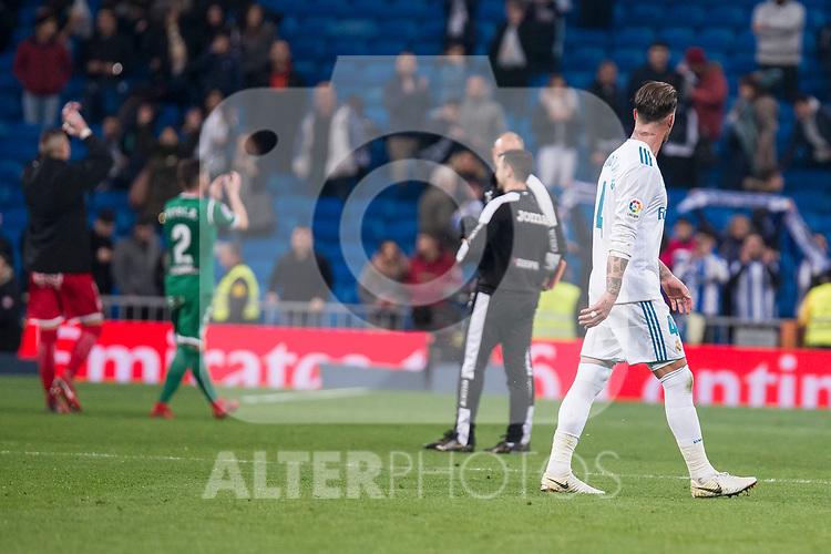 Real Madrid Sergio Ramos and Leganes Roberto Roman Tito during King's Cup match between Real Madrid and Leganes at Santiago Bernabeu Stadium in Madrid, Spain. January 24, 2018. (ALTERPHOTOS/Borja B.Hojas)