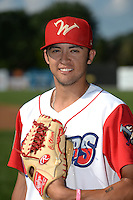 Williamsport Crosscutters pitcher Chris Oliver (10) poses for a photo before a game against the Aberdeen IronBirds on August 4, 2014 at Bowman Field in Williamsport, Pennsylvania.  Aberdeen defeated Williamsport 6-3.  (Mike Janes/Four Seam Images)