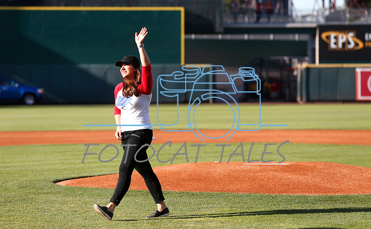 Kristen Remington throws out a ceremonial first pitch before the Sacramento River Cats game against the Reno Aces game, in Reno, Nev., on Thursday, July 4, 2019.<br /> Photo by Cathleen Allison/Nevada Momentum