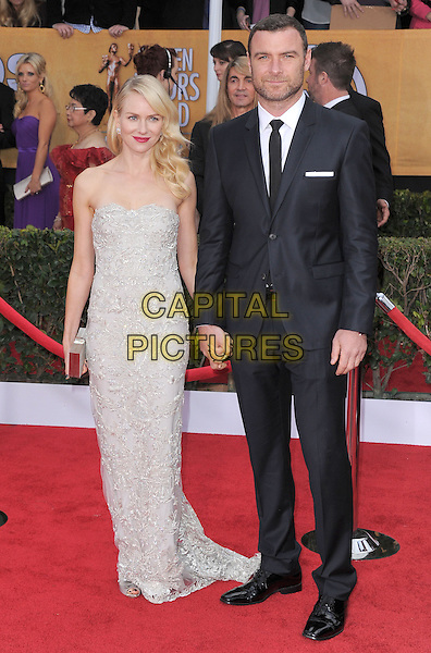 Naomi Watts (wearing Marchesa) & Liev Schreiber .Arrivals at the 19th Annual Screen Actors Guild Awards at the Shrine Auditorium in Los Angeles, California, USA..27th January 2013.SAG SAGs full length grey gray lace strapless dress black suit holding hands couple.CAP/DVS.©DVS/Capital Pictures.