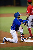 AZL Cubs center fielder Nelson Velazquez (20) celebrates after hitting a first inning triple against the AZL Angels on August 31, 2017 at Sloan Park in Mesa, Arizona. AZL Cubs defeated the AZL Angels 9-2. (Zachary Lucy/Four Seam Images)