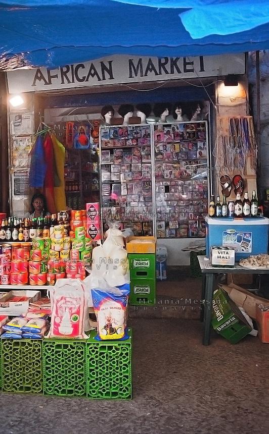 An African shop in Ballaro' market, Palermo.<br /> Mercato di Ballaro' di Palermo.