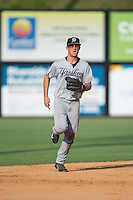 Pulaski Yankees center fielder Blake Rutherford (21) jogs off the field between innings of the game against the Danville Braves at American Legion Post 325 Field on July 31, 2016 in Danville, Virginia.  The Yankees defeated the Braves 8-3.  (Brian Westerholt/Four Seam Images)