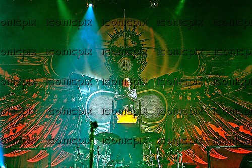 JUDAS PRIEST - vocalist Rob Halford - performing live at the start of the Retribution Tour at the Globe Arena in Stockholm Sweden - 26 Feb 2005.  Photo by: George Chin/IconicPix