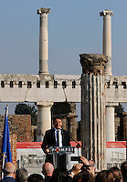 Italy's premier Matteo Renzi attends at ceremony of reopening  Six ancient residences, or 'domus', at archaeological excavations of Pompeii following restoration.<br /> <br /> Pompei  sei domus riaprono al pubblico dopo il restauro