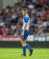 Jordan Flores of Wigan Athletic during the pre season friendly match between Wigan Athletic and Liverpool at the DW Stadium, Wigan, England on 14 July 2017. Photo by Andy Rowland.