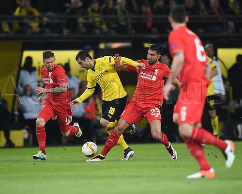 07.04.2016. Dortmund, Germany. Europa League quarterfinal. Borussia Dortmund versus Liverpool FC at the Signal Iduna Park Dortmund. Alberto MORENO (LIV), Henrikh Mkhitaryan (DOR), Emre CAN (LIV)