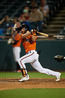 Bowie Baysox Ryan McKenna (1) at bat during an Eastern League game against the Richmond Flying Squirrels on August 15, 2019 at Prince George's Stadium in Bowie, Maryland.  Bowie defeated Richmond 4-3.  (Mike Janes/Four Seam Images)