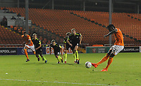 Blackpool's Armand Gnanduillet scores his side's second goal <br /> <br /> Photographer Kevin Barnes/CameraSport<br /> <br /> The Carabao Cup First Round - Blackpool v Macclesfield Town - Tuesday 13th August 2019 - Bloomfield Road - Blackpool<br />  <br /> World Copyright © 2019 CameraSport. All rights reserved. 43 Linden Ave. Countesthorpe. Leicester. England. LE8 5PG - Tel: +44 (0) 116 277 4147 - admin@camerasport.com - www.camerasport.com