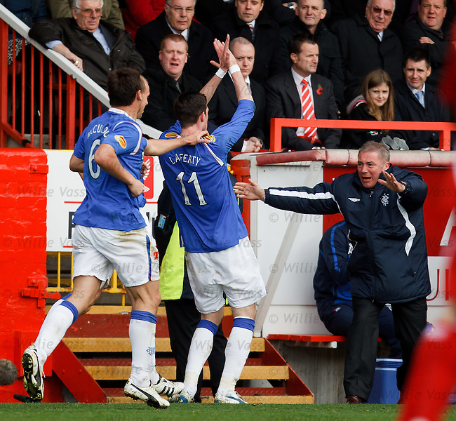 Ally McCoist hails goalscorer Kyle Lafferty who celebrates with a Steven Naismith style salute