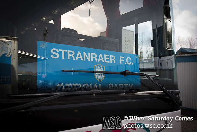 Greenock Morton 2 Stranraer 0, 21/02/2015. Cappielow Park, Greenock. The visiting team bus with club sign parked outside the stadium before Greenock Morton take on Stranraer in a Scottish League One match at Cappielow Park, Greenock. The match was between the top two teams in Scotland's third tier, with Morton winning by two goals to nil. The attendance was 1,921, above average for Morton's games during the 2014-15 season so far. Photo by Colin McPherson.