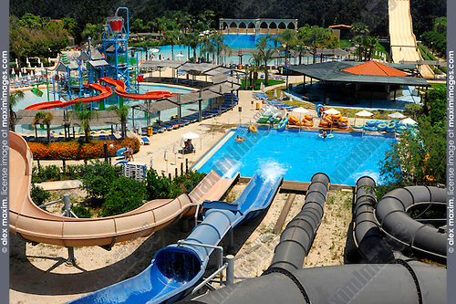 Stock photo of an Aerial view from top of water rides of Fasoury Watermania water park in Cyprus Summer 2007 Summer vacation leisure activities fun and recreation concept