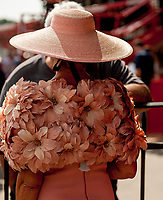 SARATOGA SPRINGS, NY - AUGUST 25: A woman dresses in all pink on Travers Stakes Day at Saratoga Race Course on August 25, 2018 in Saratoga Springs, New York. (Photo by Carson Dennis/Eclipse Sportswire/Getty Images)