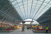 Passengers arriving on high-speed Eurostar trains in St. Pancras station, London, England