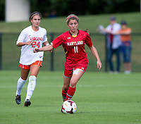 Lauren Berman (11) of Maryland brings the ball upfield during the game at Klockner Stadium in Charlottesville, VA.  Virginia defeated Maryland, 1-0.