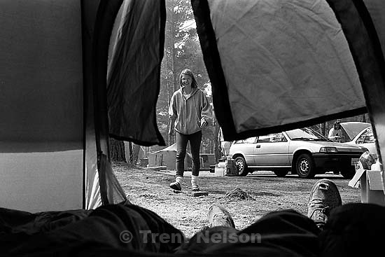 Trent feet and Laura Nelson on campout.<br />