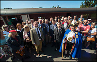 BNPS.co.uk (01202 558833)<br /> Pic: TomWren/BNPS<br /> <br /> Locals celebrate their railway rejoining the network.<br /> <br /> A plucky seaside railway that refused to die is finally rejoing the rail network today after a 45 year fight to reverse the Beeching axe.<br /> <br /> At 10.23 sharp a train will once again leave Swanage in Dorset to rejoin the main network at Wareham, thanks to an army of volunteers who have spent 45 years painstakingly rebuilding their line. 