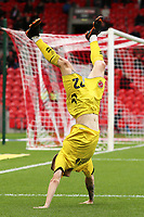 Head over heels:- Fleetwood Town's Ashley Hunter celebrates scoring his side's fourth goal <br /> <br /> Photographer David Shipman/CameraSport<br /> <br /> The EFL Sky Bet League One - Doncaster Rovers v Fleetwood Town - Saturday 6th October 2018 - Keepmoat Stadium - Doncaster<br /> <br /> World Copyright &copy; 2018 CameraSport. All rights reserved. 43 Linden Ave. Countesthorpe. Leicester. England. LE8 5PG - Tel: +44 (0) 116 277 4147 - admin@camerasport.com - www.camerasport.com