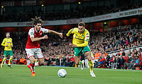 Josh Murphy of Norwich City takes on Francis Coquelin of Arsenal during the Carabao Cup match between Arsenal and Norwich City at the Emirates Stadium, London, England on 24 October 2017. Photo by Carlton Myrie.