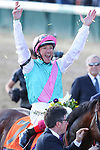 November 3, 2018: Frankie Dettori celebrates atop Expert Eye #7 after winning the Breeders' Cup Mile on Breeders' Cup World Championship Saturday at Churchill Downs on November 3, 2018 in Louisville, Kentucky. Wendy Wooley/Eclipse Sportswire/CSM