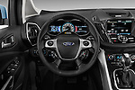 Steering wheel view of 2013 Ford C Max Hybrid SEL Stock Photo