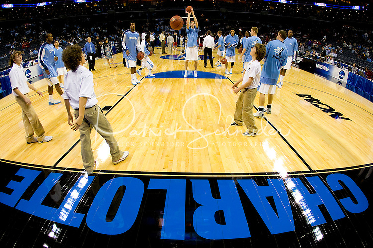 North Carolina's Tyler Hansbrough shoots in warmups during the NCAA Basketball Men's East Regional at Time Warner Cable Arena in Charlotte, NC.