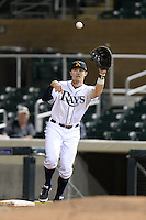 Salt River Rafters first baseman Richie Shaffer (19), of the Tampa Bay Rays organization, during an Arizona Fall League game against the Surprise Saguaros on October 15, 2013 at Salt River Fields at Talking Stick in Scottsdale, Arizona.  Surprise defeated Salt River 9-2.  (Mike Janes/Four Seam Images)