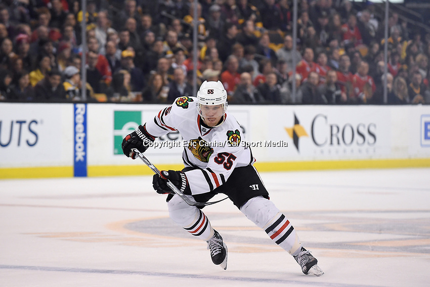Thursday, March 3, 2016: Chicago Blackhawks defenseman Christian Ehrhoff (55) in game action during the National Hockey League game between the Chicago Blackhawks and the Boston Bruins, held at TD Garden, in Boston, Massachusetts. Boston defeated Chicago 4-2. Eric Canha/CSM