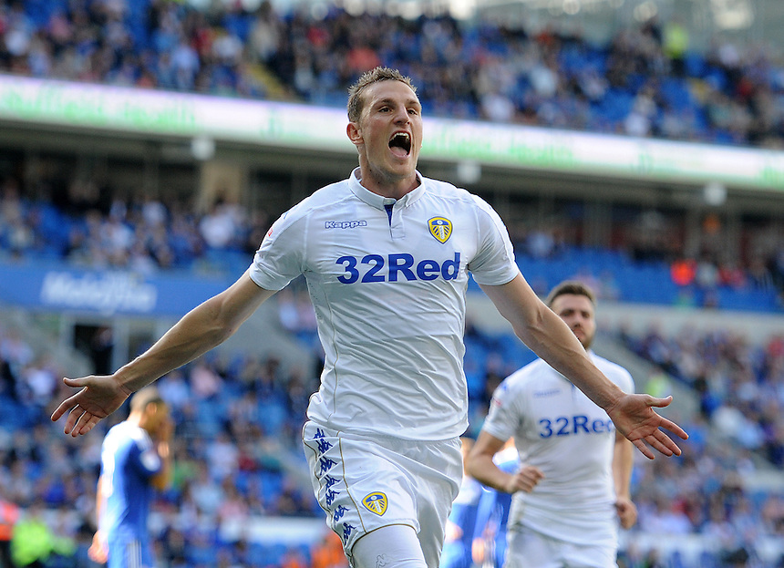 CELE - Leeds United's Chris Wood celebrates scoring the opening goal <br /> <br /> Photographer Ashley Crowden/CameraSport<br /> <br /> The EFL Sky Bet Championship - Cardiff City v Leeds United - Saturday 17 September 2016 - Cardiff City Stadium - Cardiff<br /> <br /> World Copyright &copy; 2016 CameraSport. All rights reserved. 43 Linden Ave. Countesthorpe. Leicester. England. LE8 5PG - Tel: +44 (0) 116 277 4147 - admin@camerasport.com - www.camerasport.com