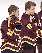 Adam Welch, Matt Stefanishion - The Boston College Eagles and Ferris State Bulldogs tied at 3 in the opening game of the Denver Cup on Friday, December 30, 2005, at Magness Arena in Denver, Colorado.  Boston College won the shootout to determine which team would advance to the Final.