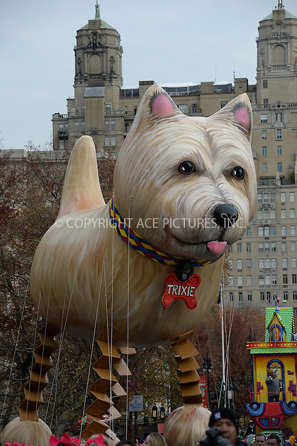 www.acepixs.com<br /> <br /> November 24 2016, New York City<br /> <br /> The Trixie balloon at the 90th Annual Macy's Thanksgiving Day Parade on November 24, 2016 in New York City. <br /> <br /> By Line: Kristin Callahan/ACE Pictures<br /> <br /> <br /> ACE Pictures Inc<br /> Tel: 6467670430<br /> Email: info@acepixs.com<br /> www.acepixs.com