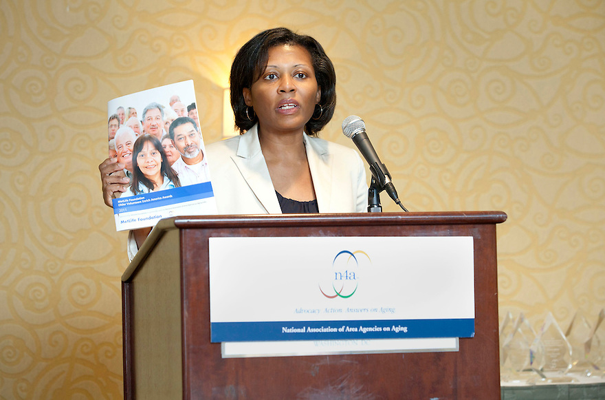 April Hawkins speaks at the Older Volunteers Enrich America Awards at the Double Tree Hotel in Washington, DC on Friday, June 17, 2011.