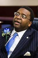 TALLAHASSEE, FLA. 3/4/14-House Democratic Leader Rep. Perry Thurston, D-Fort Lauderdale, during the opening day of the legislative session, March 4, 2014 at the Capitol in Tallahassee.<br /> <br /> COLIN HACKLEY PHOTO