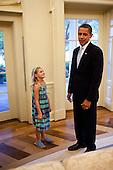 Washington, DC - August 21, 2009 -- Brynja Hammer smiles at United States President Barack Obama during a visit to the Oval Office on her eighth birthday, August 21, 2009. Byrnja's father Mike is spokesman for the National Security Council..Mandatory Credit: Pete Souza - White House via CNP
