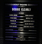 Lobby Cast Board at the Opening Night Press Reception for the Roundabout Theatre Company/Roundabout Underground production of 'Bobbie Clearly' at The Black Box Theatre on April 3, 2018 in New York City.