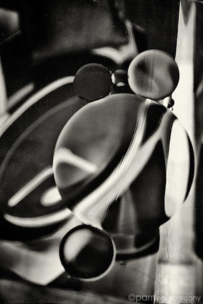 Black and white of circles and lines.  Taken with infrared camera