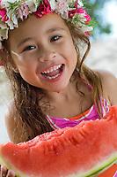 Makela eating watermelon<br /> Trunk Bay<br /> St. John<br /> U.S. Virgin Islands
