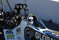 Jul 29, 2017; Sonoma, CA, USA; NHRA top fuel driver Shawn Langdon during qualifying for the Sonoma Nationals at Sonoma Raceway. Mandatory Credit: Mark J. Rebilas-USA TODAY Sports