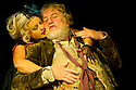 "Bath, Avon, UK. 25/07/2011. ""Henry IV, Part II"", part of the Peter Hall season at Theatre Royal Bath. Desmond Barrit as Sir John Falstaff and Wendy Morgan as Doll Tearsheet. Photo credit: Jane Hobson"
