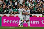 05.08.2017, Weserstadion, Bremen, GER, FSP, SV Werder Bremen (GER) vs FC Valencia (ESP)<br /> <br /> im Bild<br /> Torjubel zum 1:1 durch Max Kruse (Werder Bremen #10) mit Fin Bartels (Werder Bremen #22), Florian Kainz (Werder Bremen #7), <br /> <br /> Foto © nordphoto / Ewert