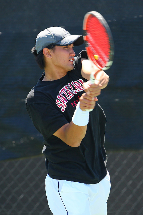 April 21, 2011; San Diego, CA, USA; Santa Clara Broncos singles Kyle Dandan during the first round of the WCC Tennis Championships at the Barnes Tennis Center.